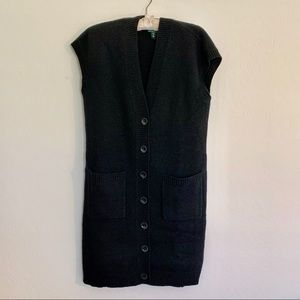 Ralph Lauren Black  100% Wool Long Sweater Vest L
